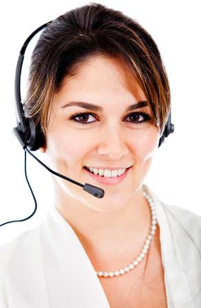 persona llamando: Mujer al cliente operador de soporte con auriculares y sonriente Foto de archivo