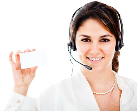 Woman from a contact center holding a card � isolated  photo