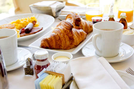 Close up of a healthy breakfast with croissants  photo