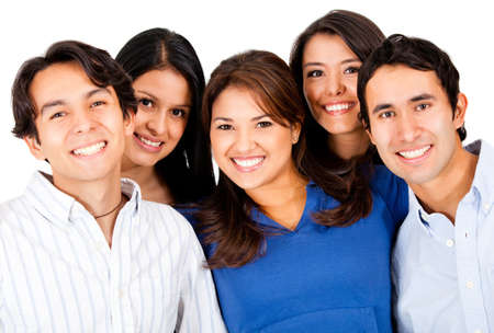Happy group of young people smiling together Ð isolated  photo