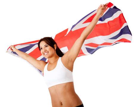 British athlete holding the flag of the UK - isolated over white  photo