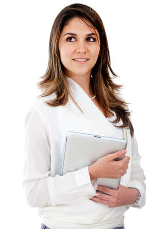 Businesswoman looking up and holding a folder - isolated over white photo