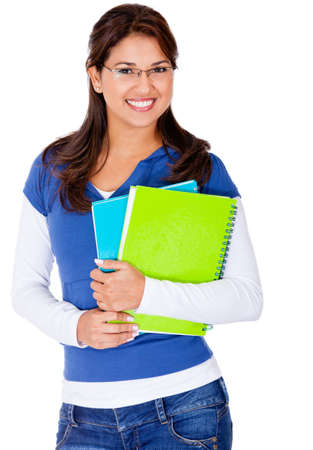 Female student holding notebooks and smiling - isolated  Stock Photo - 13440099