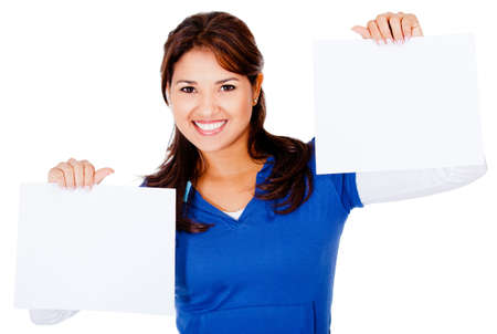 Woman holding two small banners - isolated over a white background  Stock Photo - 13440020