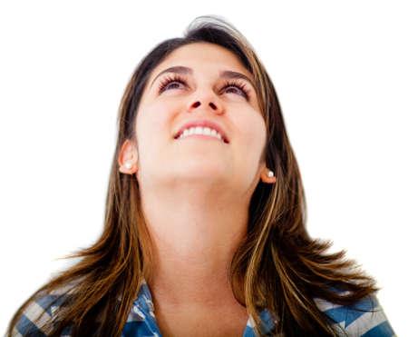 femme regarde en haut: Femme regardant - isol� sur un fond blanc