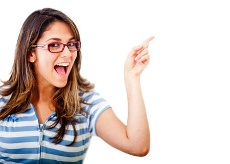 excited woman: Excited woman pointing an idea with her finger - isolated over white  Stock Photo