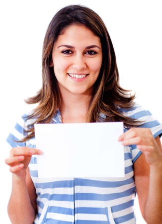 Woman holding a small banner - isolated over a white background  photo