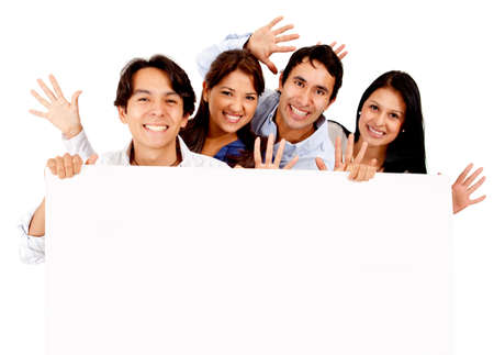 Fun group of friends holding a banner - isolated over a white background  photo