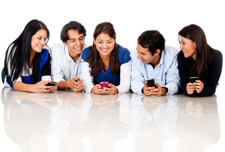 Group of people texting - isolated over a white background  photo