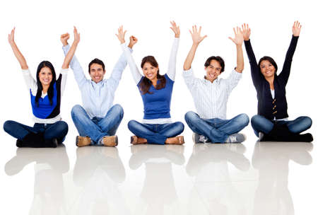 excited woman: Happy group of friends smiling - isolated over a white background