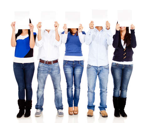 People holding blank posters - isolated over a white background  photo