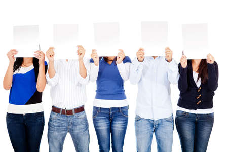 blank faces: Group of people covering their face with banners - isolated  Stock Photo