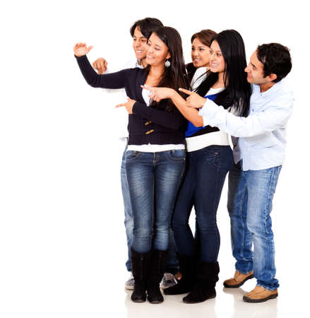 Group of people pointing at an imaginary object - isolated over a white background  Stock Photo - 13440668