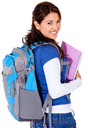 Female student with a backpack - isolated over a white background  photo