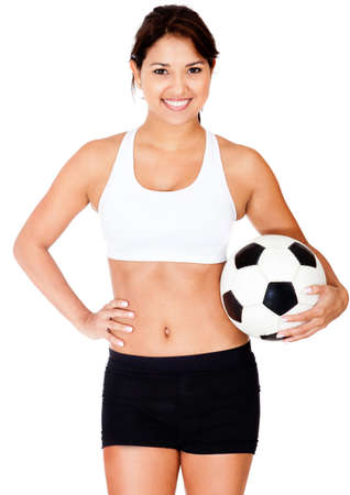 Female football player holding a ball - isolated over a white background  photo