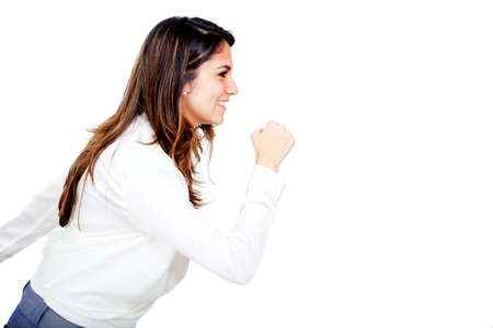 determined: Business woman running - isolated over a white background