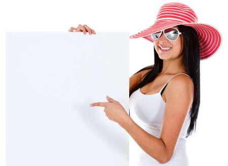 Female tourist with a banner - isolated over white  photo