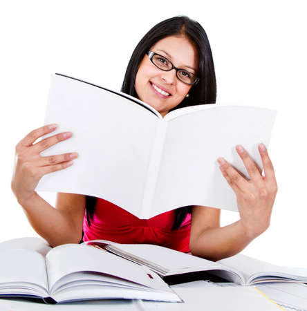 Female student reding a book - isolated over a white background  Stock Photo - 13535646