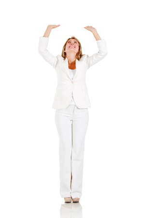 something: Businesswoman with arms up holding something - isolated over a white background