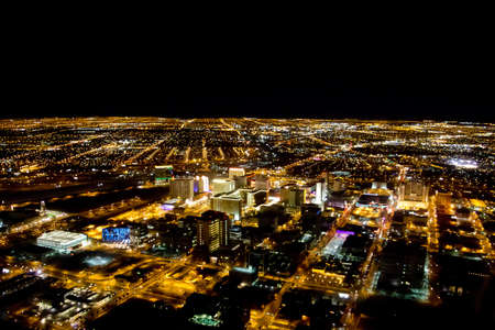Las Vegas city viewed at night with all the lights on  photo
