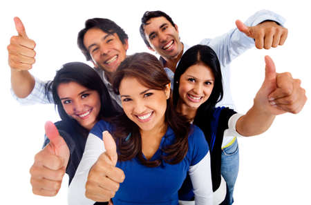 latin girls: Happy group of friends with thumbs up - isolated over a white background