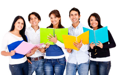Happy group of students - isolated over a white background  photo