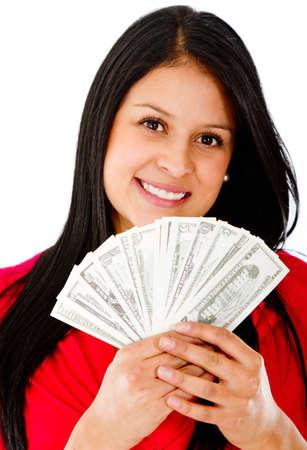 donna ricca: Donna ricca possesso di un mazzo di banconote - isolato su uno sfondo bianco