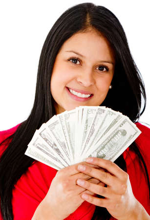 Rich woman holding a bunch of bills - isolated over a white background  photo