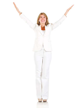 Powerful businesswoman with arms up - isolated over a white background Stock Photo - 13535685