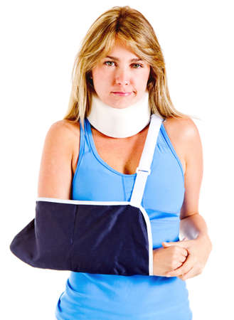injure: Injured woman in pain - isolated over a white background  Stock Photo