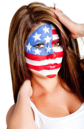 American woman with the USA flag painted on her face Ð isolated  photo