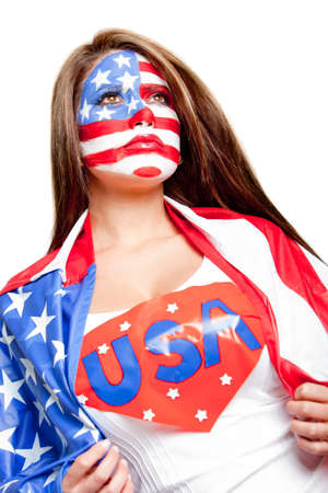 American superwoman with the USA flag painted on her face   photo