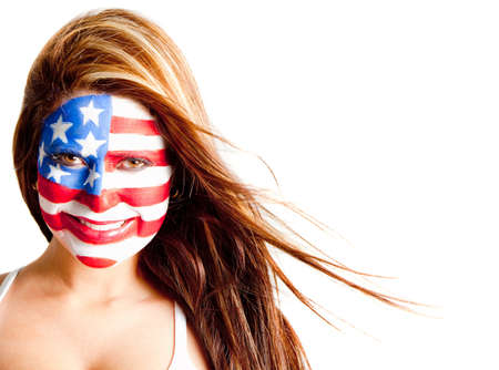 American woman with the USA flag painted on her face � isolated  photo