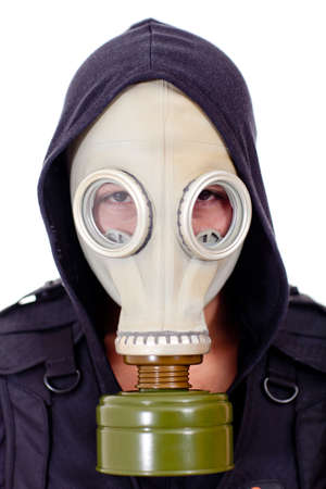 Man wearing a gas mask - isolated over a white background  photo