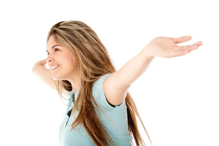 outstretch: Happy woman with arms open - isolated over white