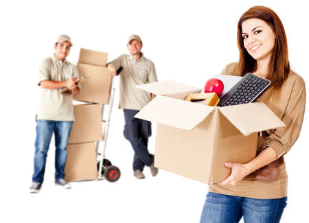home moving: Guys helping a woman to move house - isolated over white