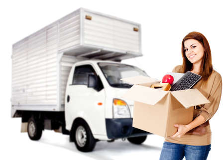 Woman changing house and hiring a moving service - isolated  photo