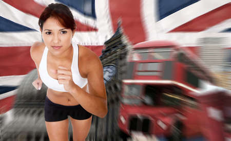 Female athlete running for the 2012 Olympics in London  photo