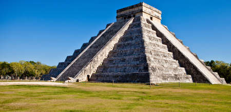 mayan: Chichen itza Mexican pyramid on a beautiful sunny day  Stock Photo