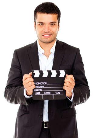 r�le: Coul�e acteur Homme pour un r�le dans un film - isol� sur un fond blanc Banque d'images
