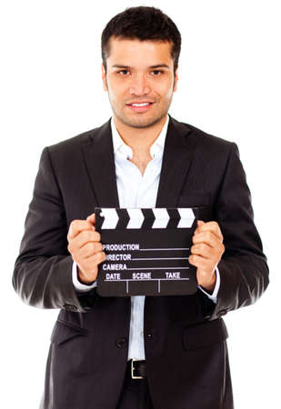 Male actor casting for a movie role - isolated over a white background  photo