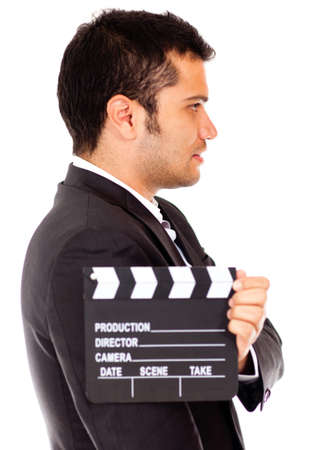 Man casting for a tv role - isolated over a white background photo