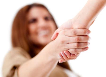 stretta di mano: Amichevole stretta di mano - isolato su uno sfondo bianco