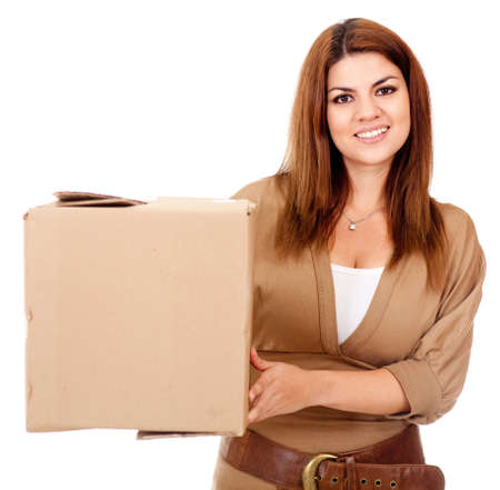 Woman shipping a box - isolated over a white background photo