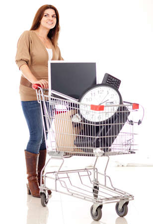 Woman buying office supplies - isolated over a white background  photo