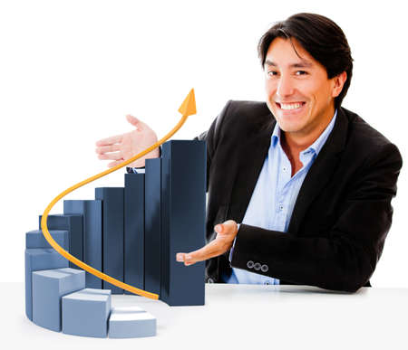 Man displaying a graph showing business growth - isolated over white  photo