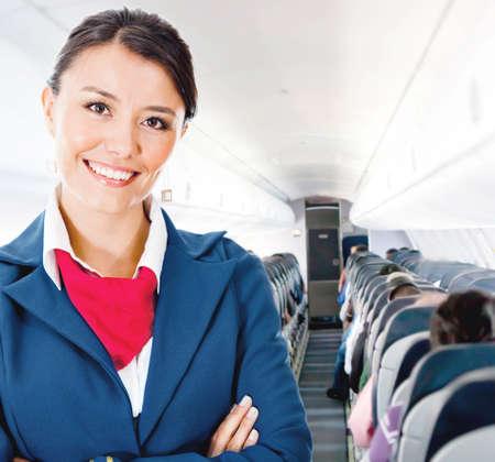 비행: 미소 비행기에서 아름다운 승무원