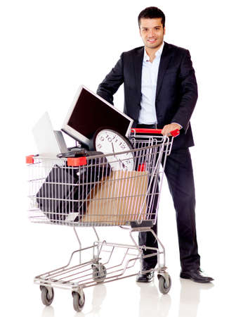 carts: Businessman buying office supplies - isolated over a white background