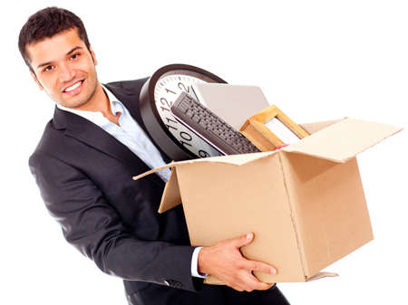 upgrading: Businessman moving into a new office holding a box - isolated