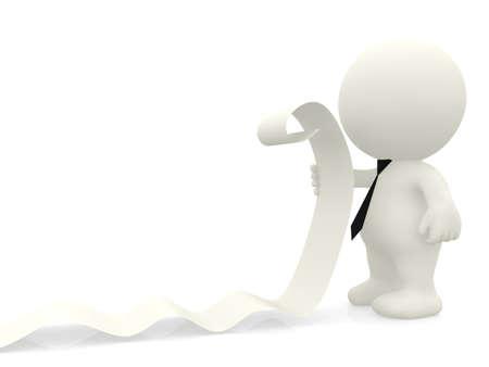 listing: Hombre de negocios 3D de leer una lista - aislados en un fondo blanco